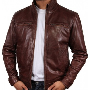 Men's Brown Leather Jacket - Chicago