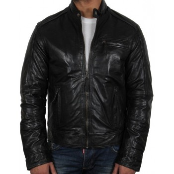 Men's Black Leather Jacket - Liam