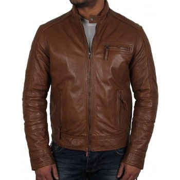 Men's Tan Leather Jacket - Liam