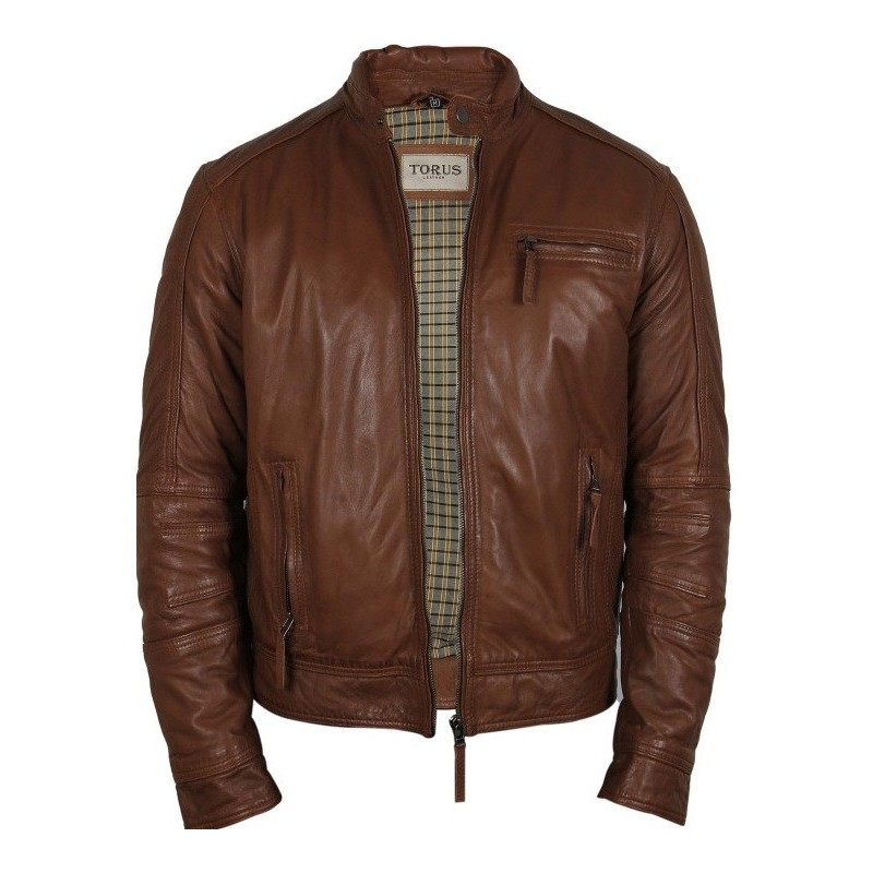 Mens tan leather jacket