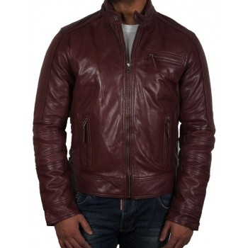 Men's Burgundy Leather Jacket - Liam
