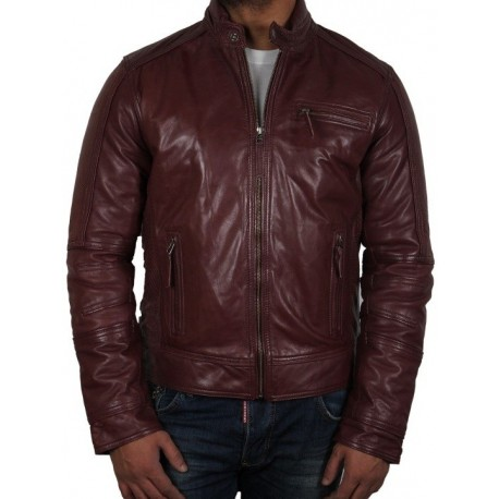 Vtg-70s-Burgundy-FIGHT-LEATHER-Jacket-Men-40-ARGENTINA-MADE-NEW