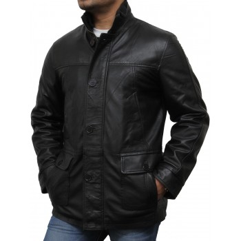 Men's Black Leather Biker Jacket - Mathew