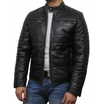 Mens Black Leather Biker Jacket - Marsh