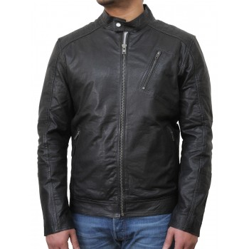 Mens Black Biker Leather Jacket-Ethan
