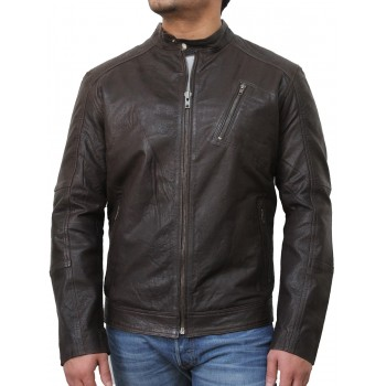 Mens Brown Biker Leather Jacket-Ethan
