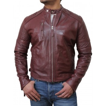 Men's Leather Biker Jacket Burgundy - Cary