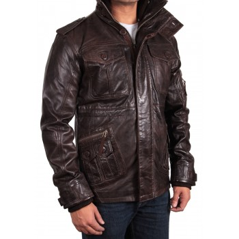 Men's Brown Leather Jacket - Jeff