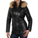 Womens Black Biker leather Jacket- Alex