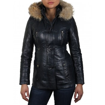 Womens Navy Blue  Biker Leather Jacket - Alex