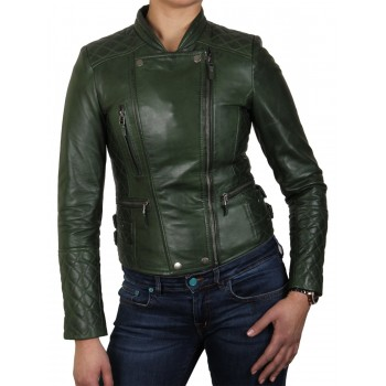 Womens Olive Biker Leather Jacket - Connie