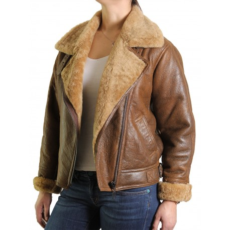 Womens Sheepskin Leather Jacket - Cass