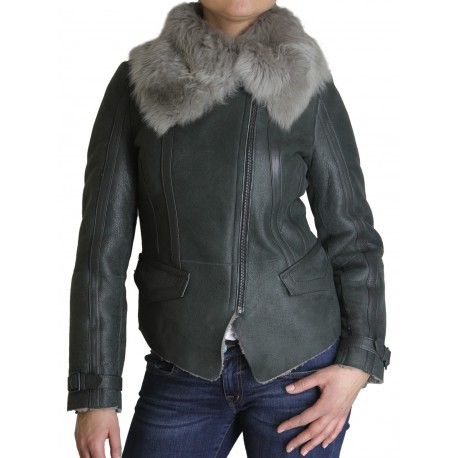 Womens Sheepskin Leather Jacket - Berry