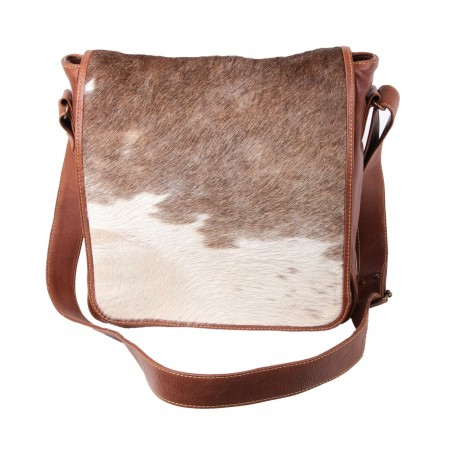 Brown And White Leather Messanger Bag-Classic
