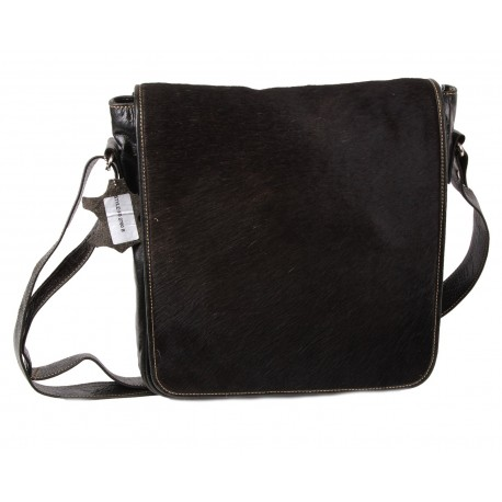 Black Messenger Leather Bag-Ross