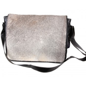 Black And White Messenger Leather Bag - Canvas