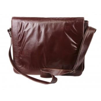 Brown Leather Laptop Bag - Rose