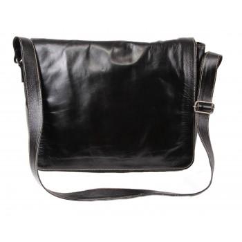 Black Leather Laptop Bag - Katha