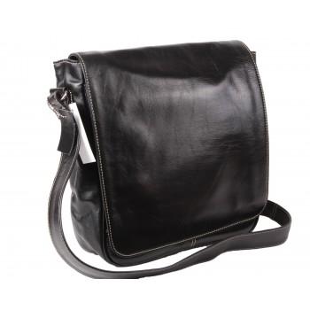 Black Leather Laptop Bag - Den