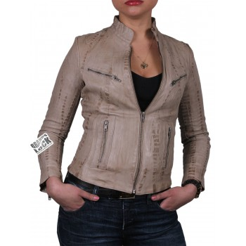 Ladies Croc Leather Biker Jacket - Ciara