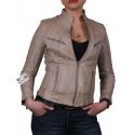 Women Croc Leather Biker Jacket - Ciara