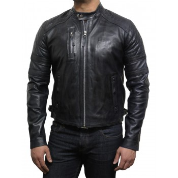 Men's Leather Biker Jacket Navy - Cary