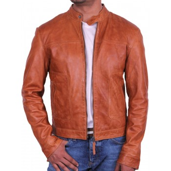 Men's Tan Leather Biker Jacket - Asasin