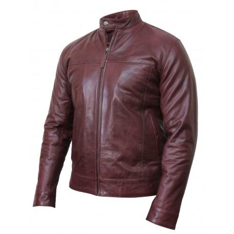 Men's Black Leather Jacket - Crinkle Retro Pacific