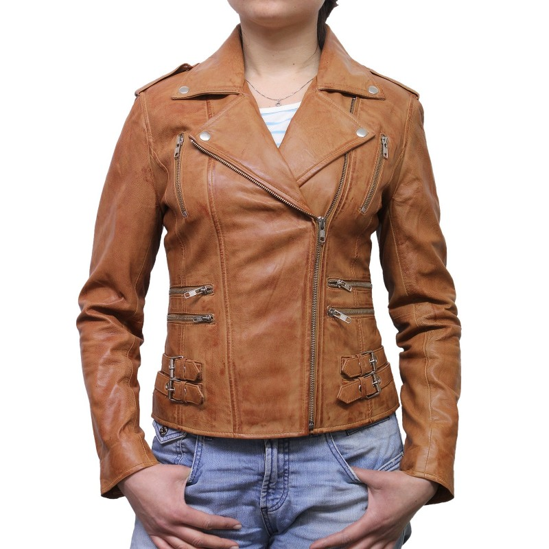 Women Tan Leather Biker Jacket - Moss - Brandslock