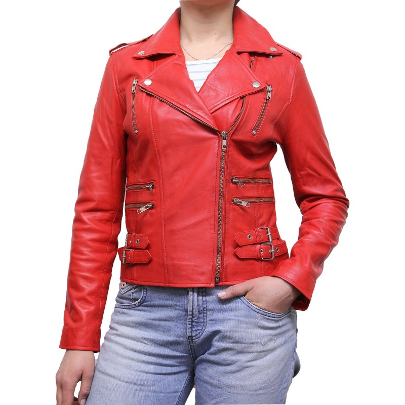 ladies red leather jacket - photo #16
