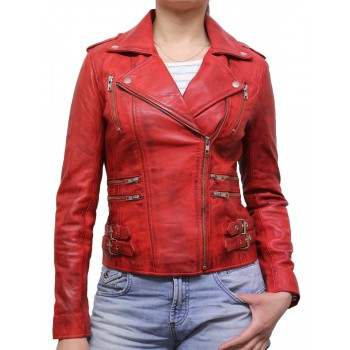 Women Waxed Red Leather Biker Jacket - Moss