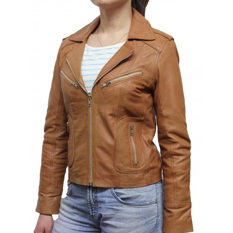 Ladies Tan Leather Biker Jacket - Kristy