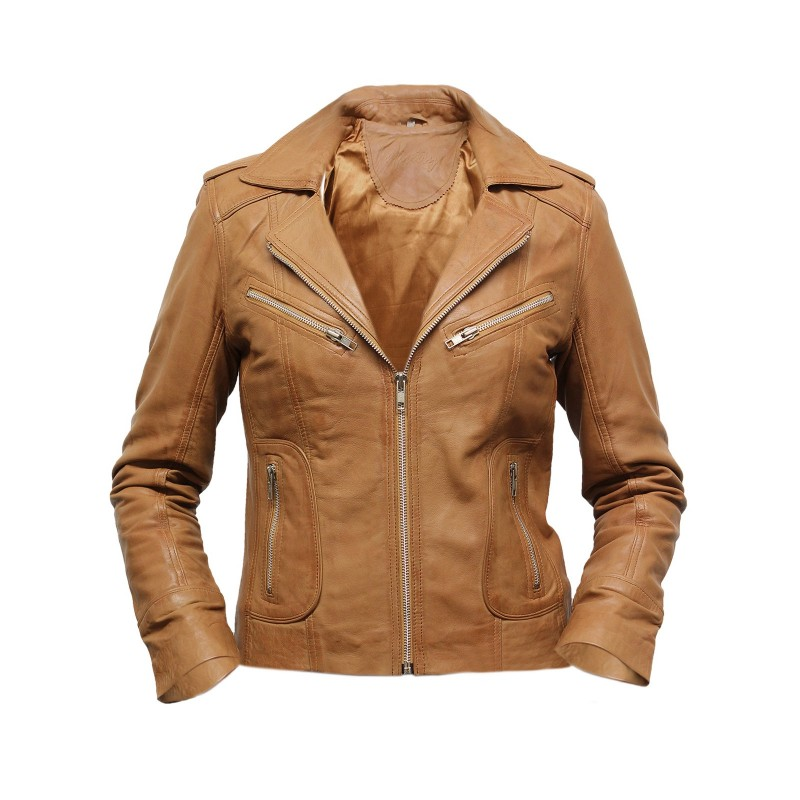 Women Tan Leather Biker Jacket - Kristy - Brandslock