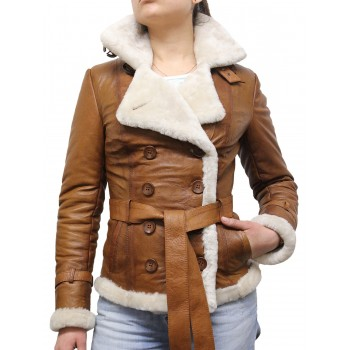 Women Tan Leather Blazer Jacket - Upton