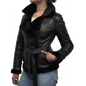Women Black Leather Blazer Jacket - Upton