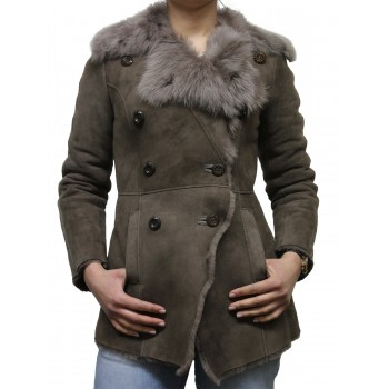 Women Grey Toscana sheepskin Coat - Attic