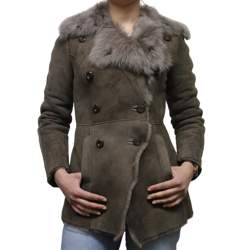 Women Grey Toscana sheepskin Coat - Attic - Brandslock