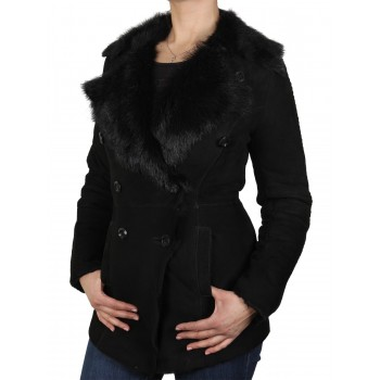 Women Black Shearling sheepskin Jacket - Attic
