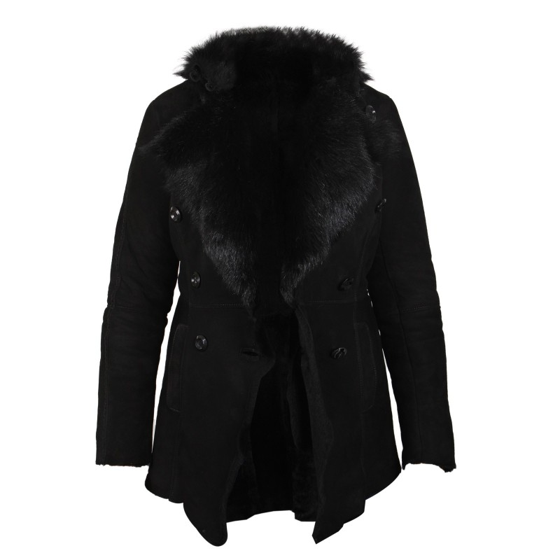 Women Black Shearling sheepskin Jacket - Attic - Brandslock