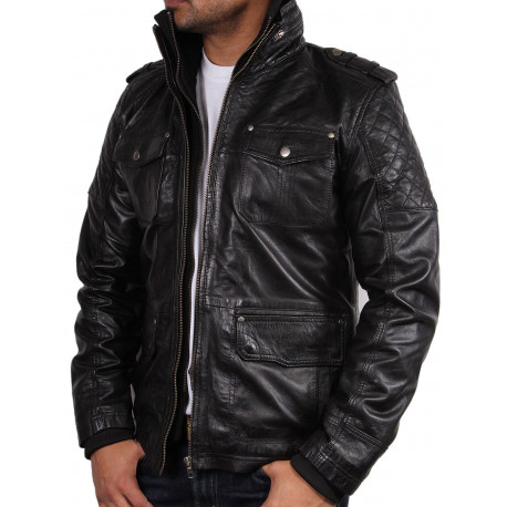 Men's Black Leather Jacket - Tales