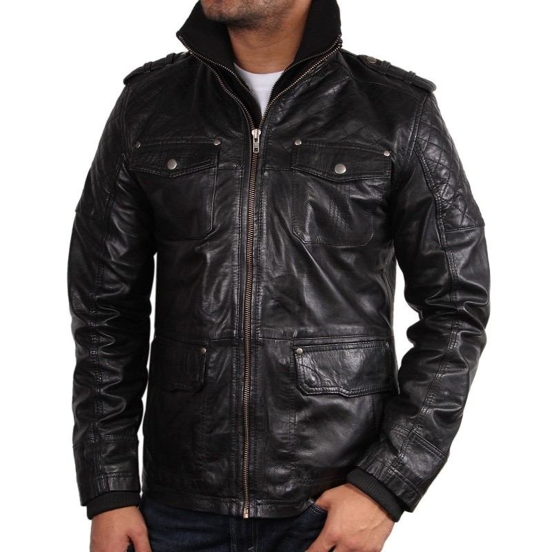 Men's Black Leather Jacket - Tales. Next