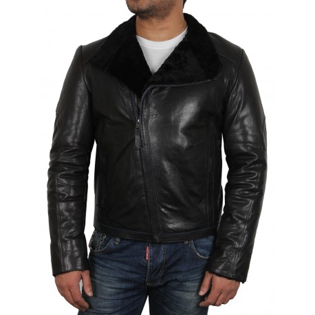 Men's Black shearling sheepskin jacket - Sutton