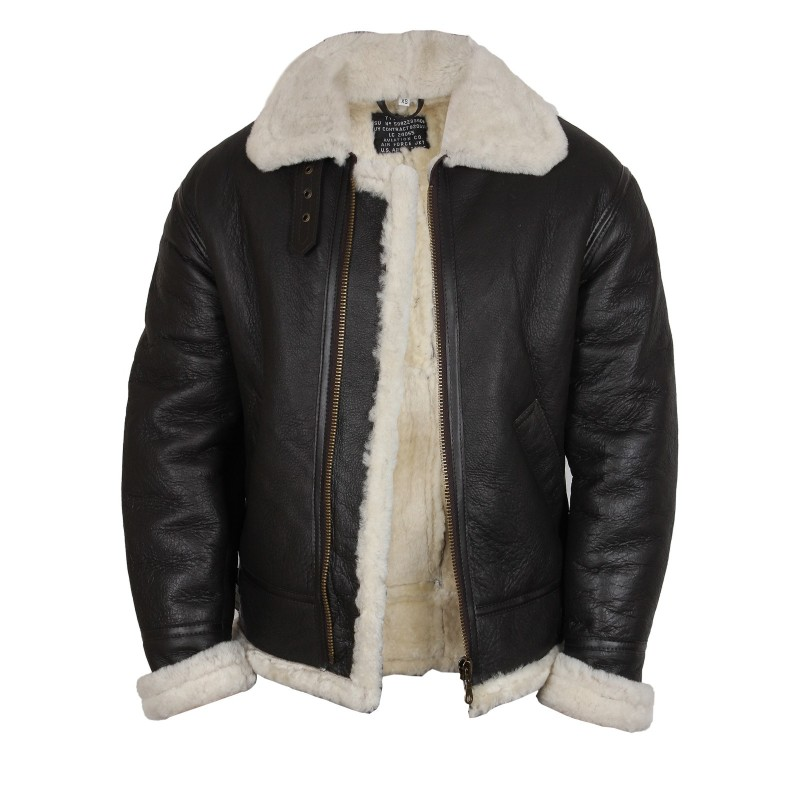 Men's Aviator Real Shearling Sheepskin Leather Flying Jacket ...
