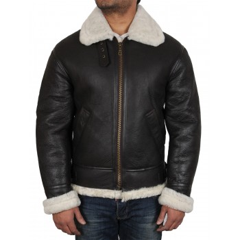 Men's Real Shearling Sheepskin Leather Flying Jacket Aviator BNWT