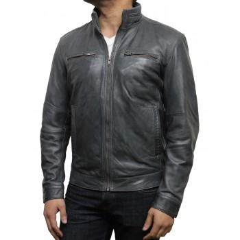 Men's Grey Leather Biker Jacket - Chicago