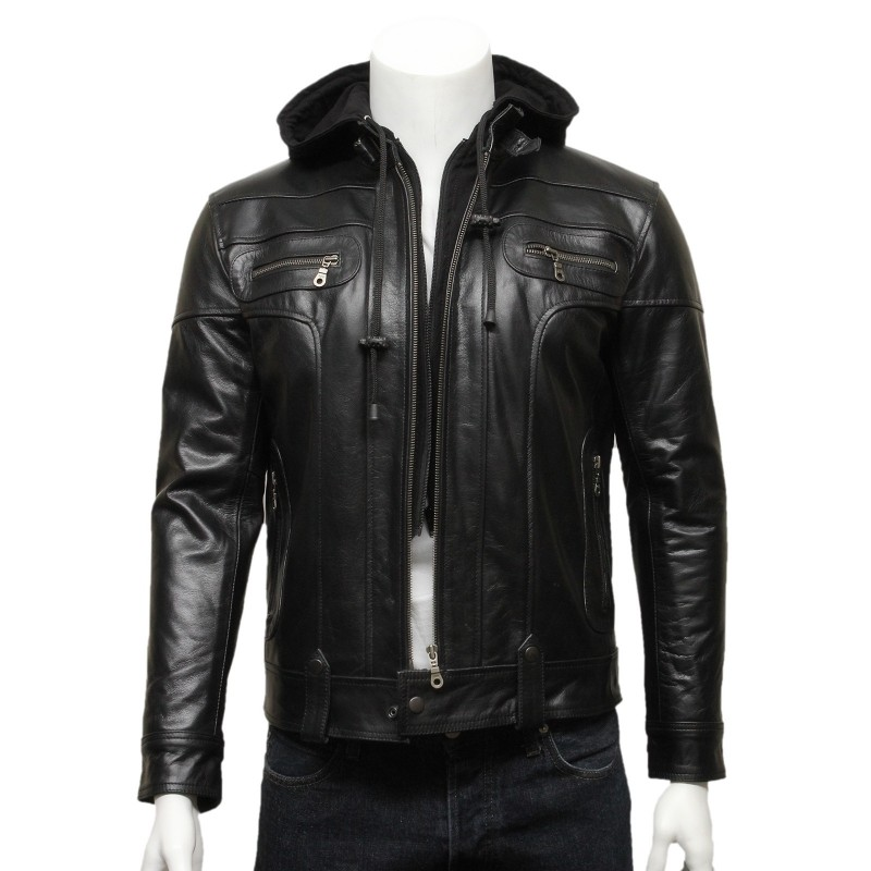 Mens Black Hooded Leather Biker Bomber Jacket-Bram - Brandslock