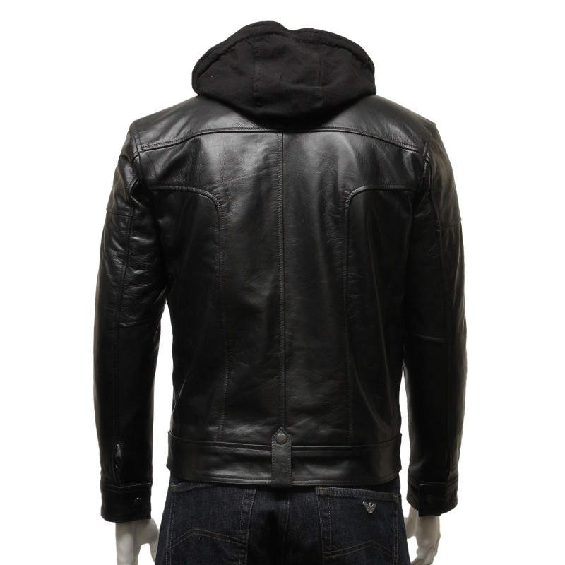 Hooded leather motorcycle jacket