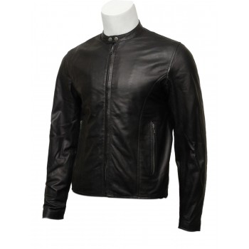 Mens Real Leather Black Biker Jacket-Levi
