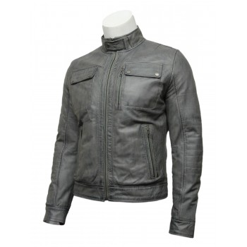Mens Grey Classic Leather Biker Bomber Jacket-Pedro