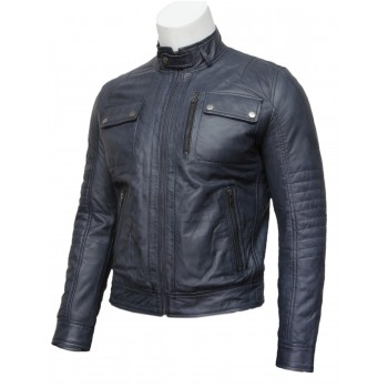 Mens Navy Blue Classic Leather Biker Bomber Jacket-Pedro